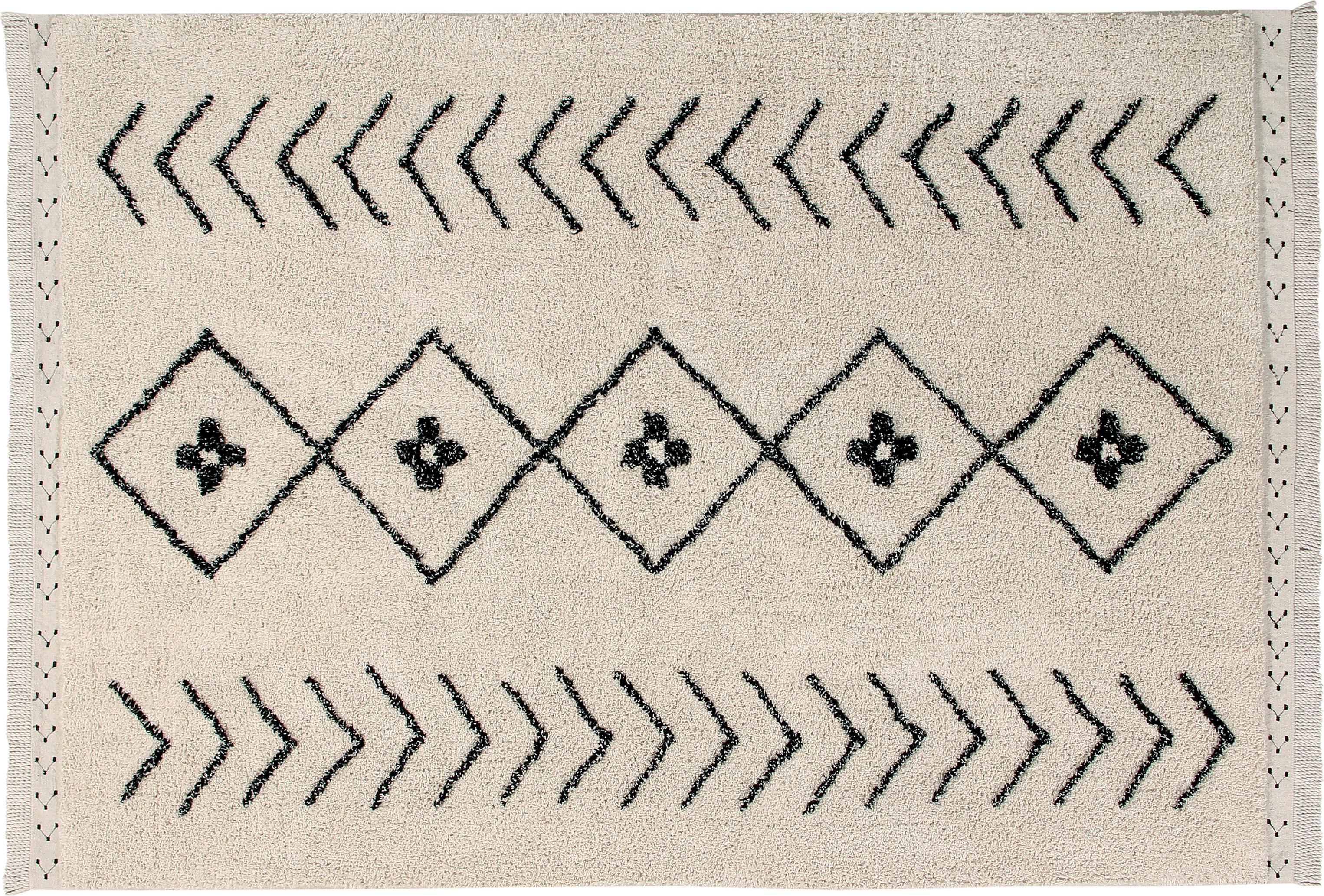 Tappeto in cotone lavabile Barber, Retro: cotone riciclato, Marrone chiaro, nero, Larg. 140 x Lung. 210 cm (taglia S)