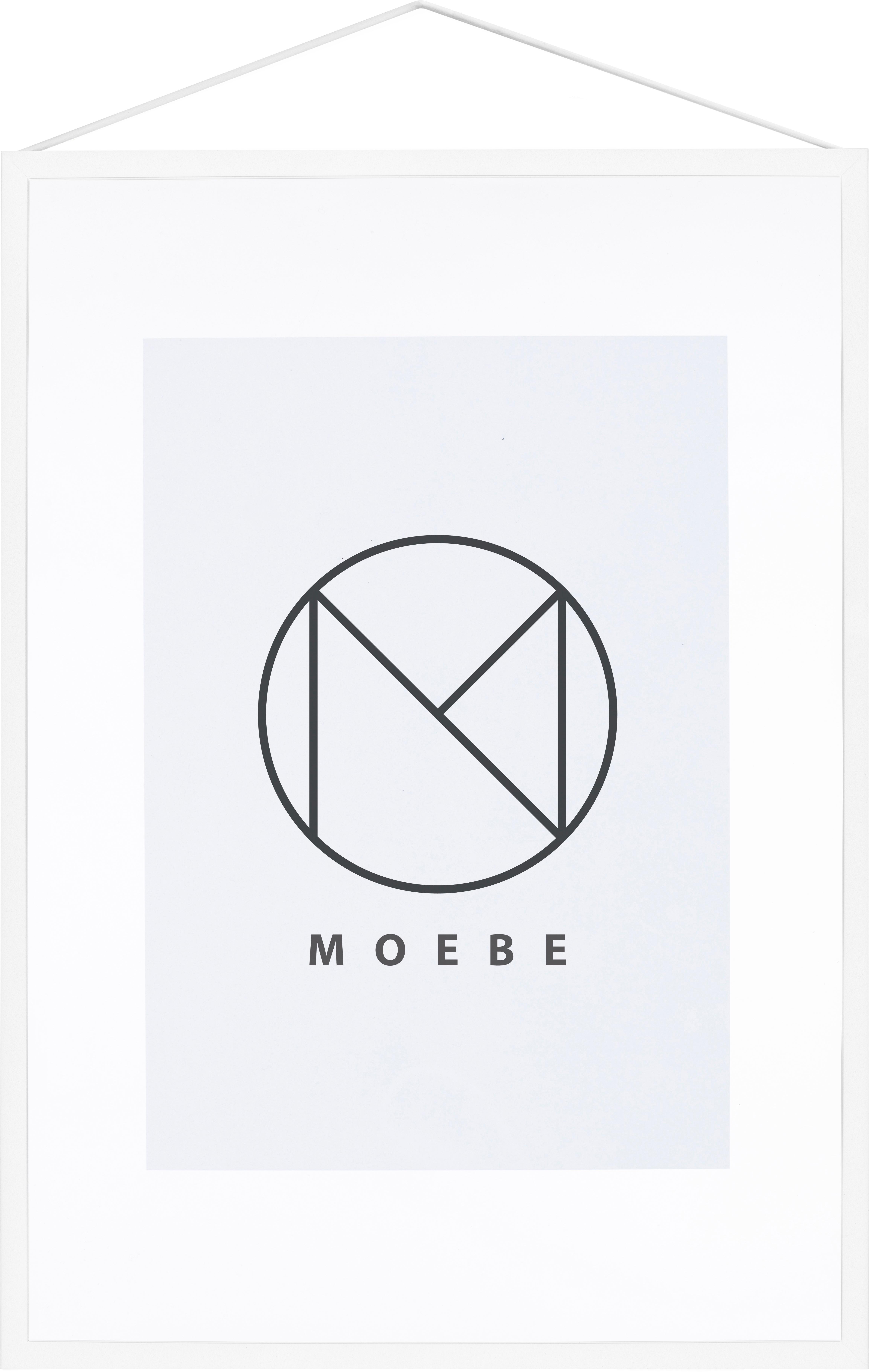 Bilderrahmen Frame, Rahmen: Aluminium, pulverbeschich, Rahmen: Weiß<br>Aufhängung: Schwarz<br>Front und Rückseite: Transparent, 32 x 44 cm