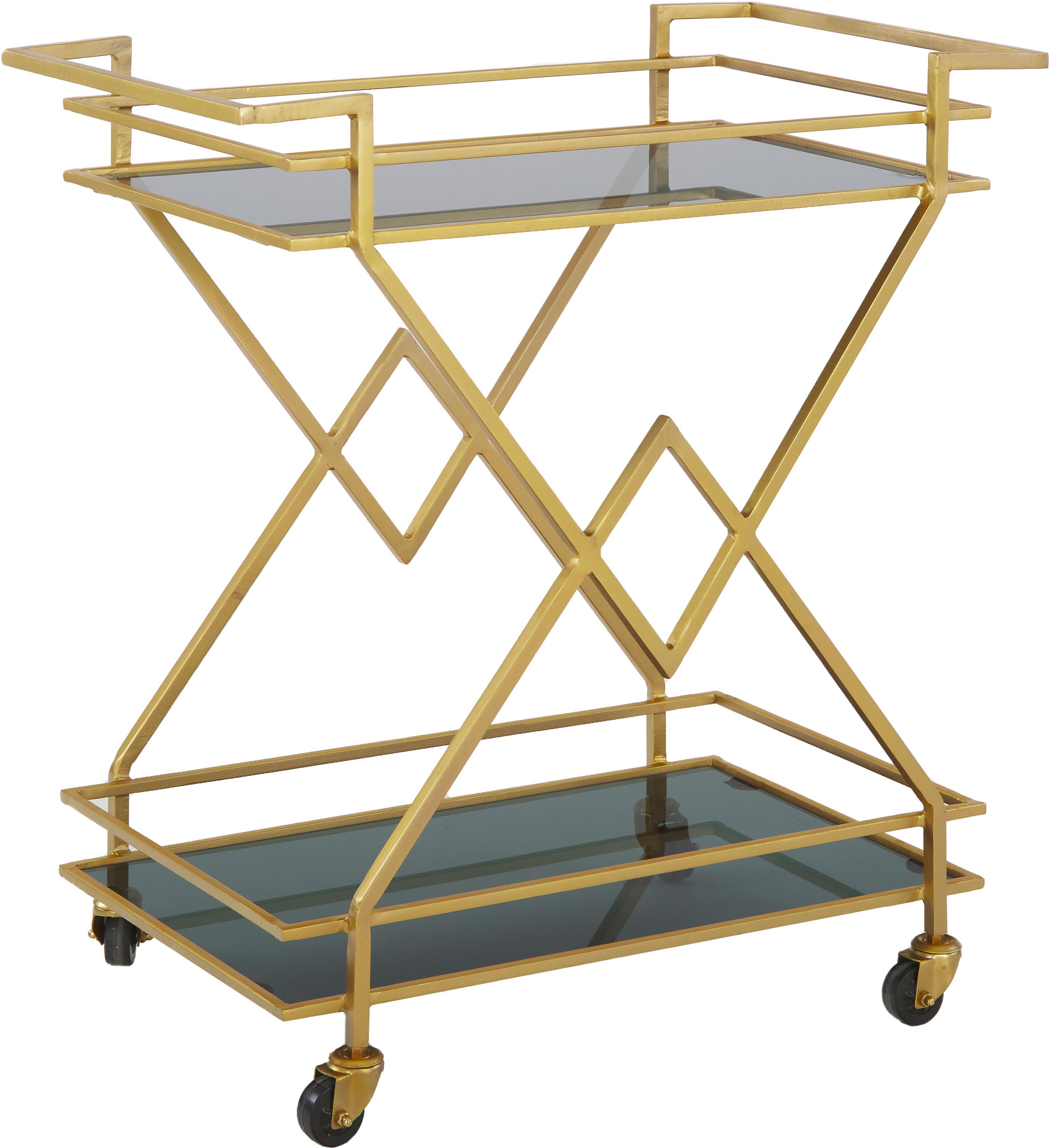 Barcart Ben goudkleurig, Plateaus: getint glas, Frame: gelakt metaal, Wieltjes: kunststof, Goudkleurig, transparant, 76 x 80 cm