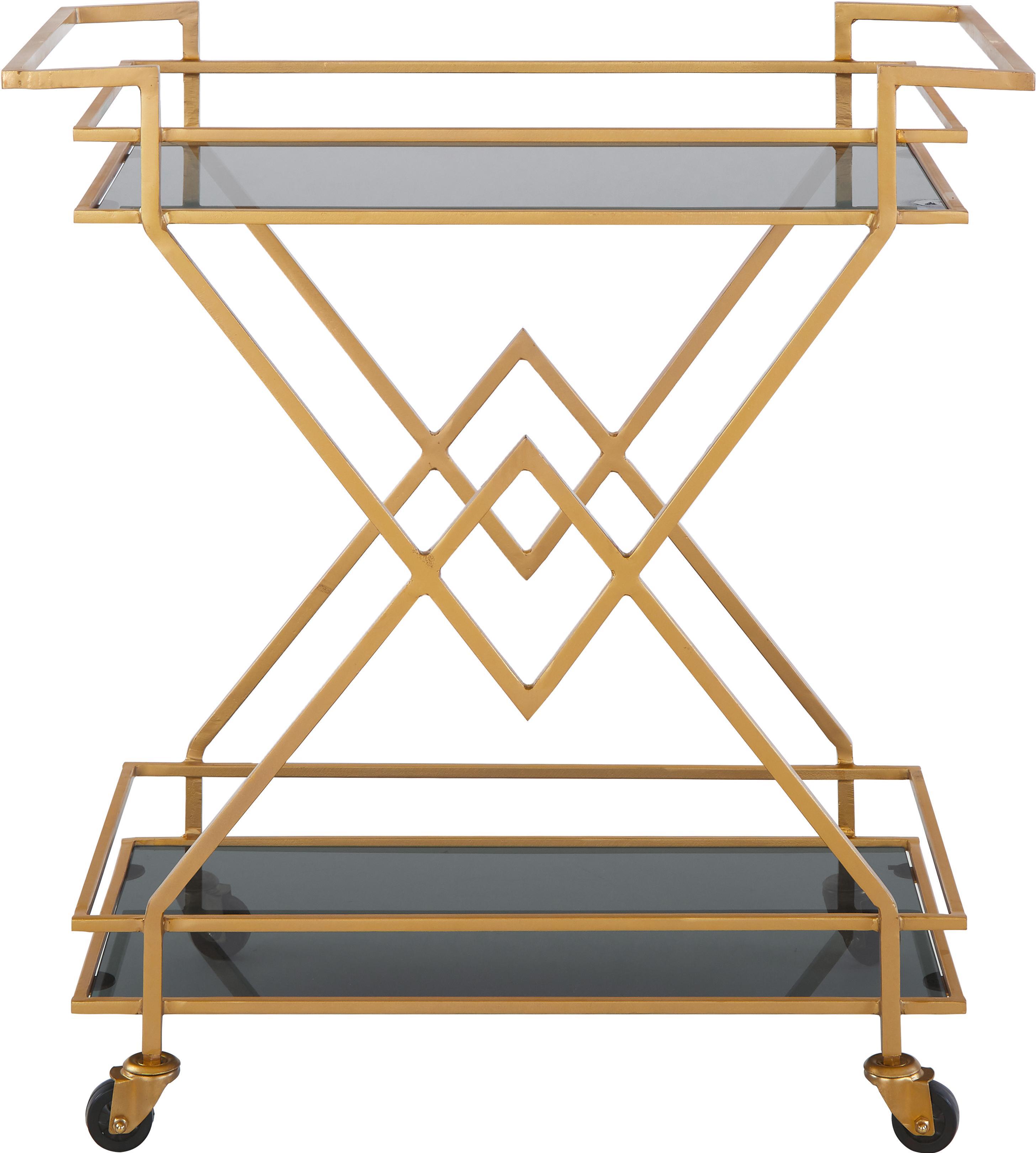Servierwagen Ben in Gold, Gestell: Metall, lackiert, Rollen: Kunststoff, Goldfarben,Transparent, 76 x 80 cm