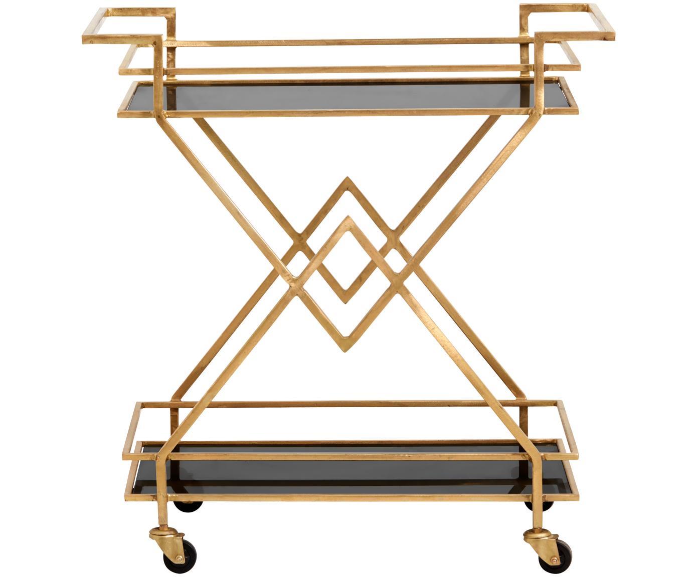 Wózek barowy Ben, Stelaż: metal lakierowany, Odcienie złotego, transparentny, S 76 x W 80 cm