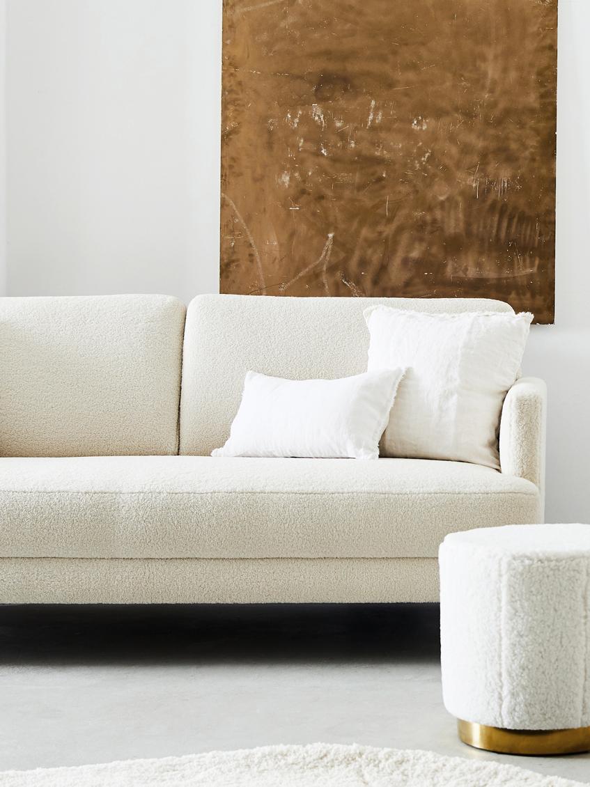Teddy-Sofa Fluente (3-Sitzer), Bezug: Polyester (Teddyfell) 40., Gestell: Massives Kiefernholz, Füße: Metall, lackiert, Teddy Cremeweiß, 197 x 85 cm