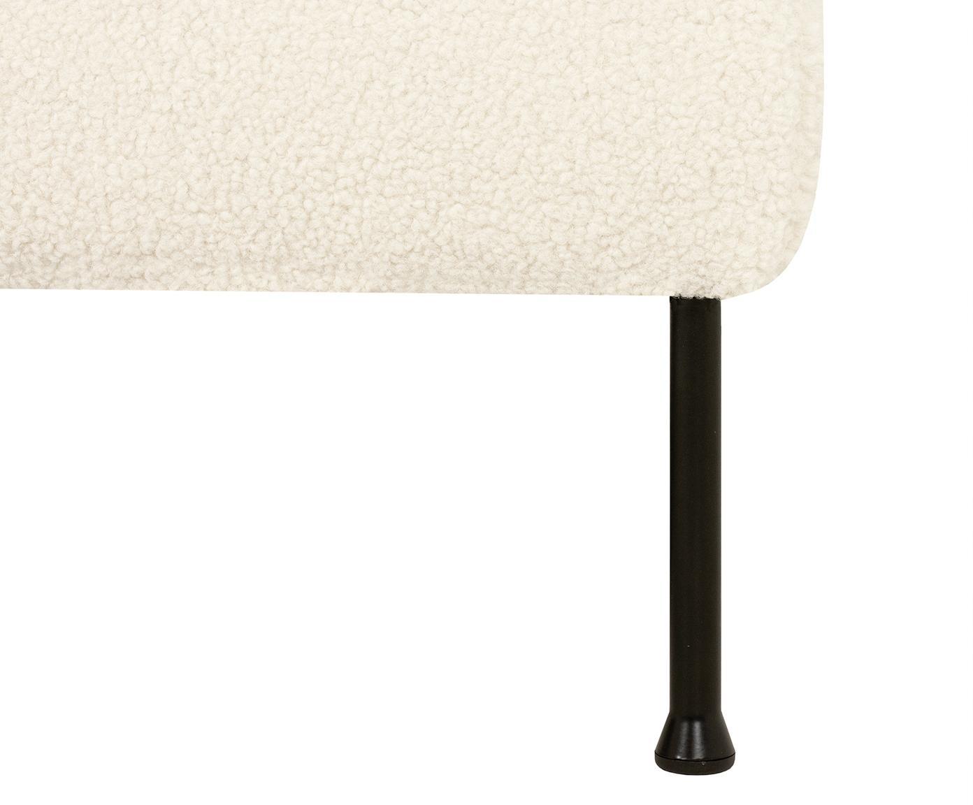 Sofa Teddy Fluente (3-osobowa), Tapicerka: poliester (futro Teddy) 4, Stelaż: lite drewno sosnowe, Nogi: metal lakierowany, Kremowobiały teddy, S 197 x G 83 cm