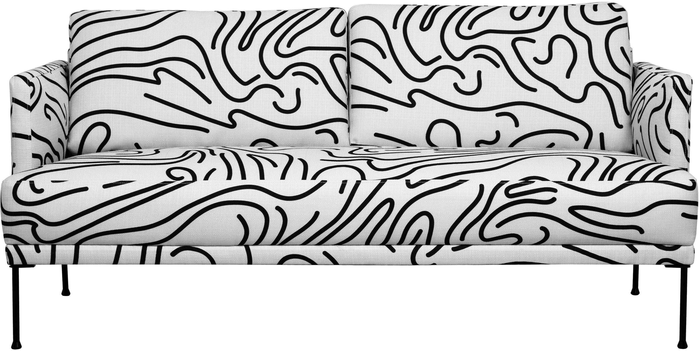 Bank Fluente (2-zits), Bekleding: 100% polyester, Frame: massief grenenhout, Poten: gepoedercoat metaal, Geweven stof wit, B 166 x D 85 cm