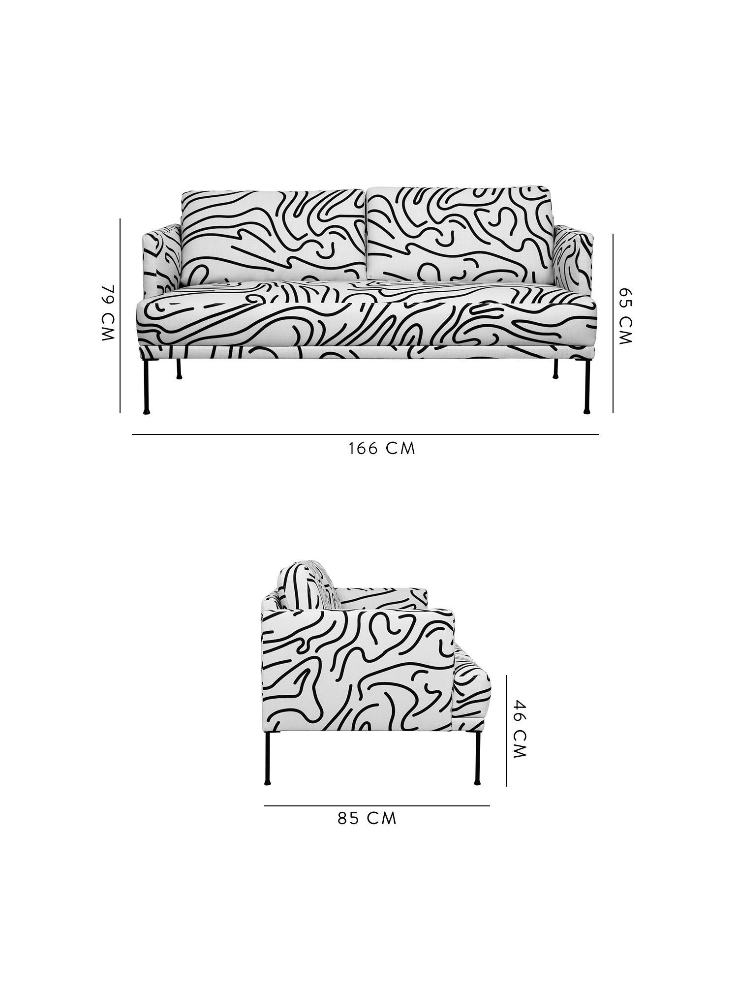 Sofa Fluente (2-Sitzer), Bezug: 100% Polyester Der hochwe, Gestell: Massives Kiefernholz, Webstoff Weiss, B 166 x T 85 cm