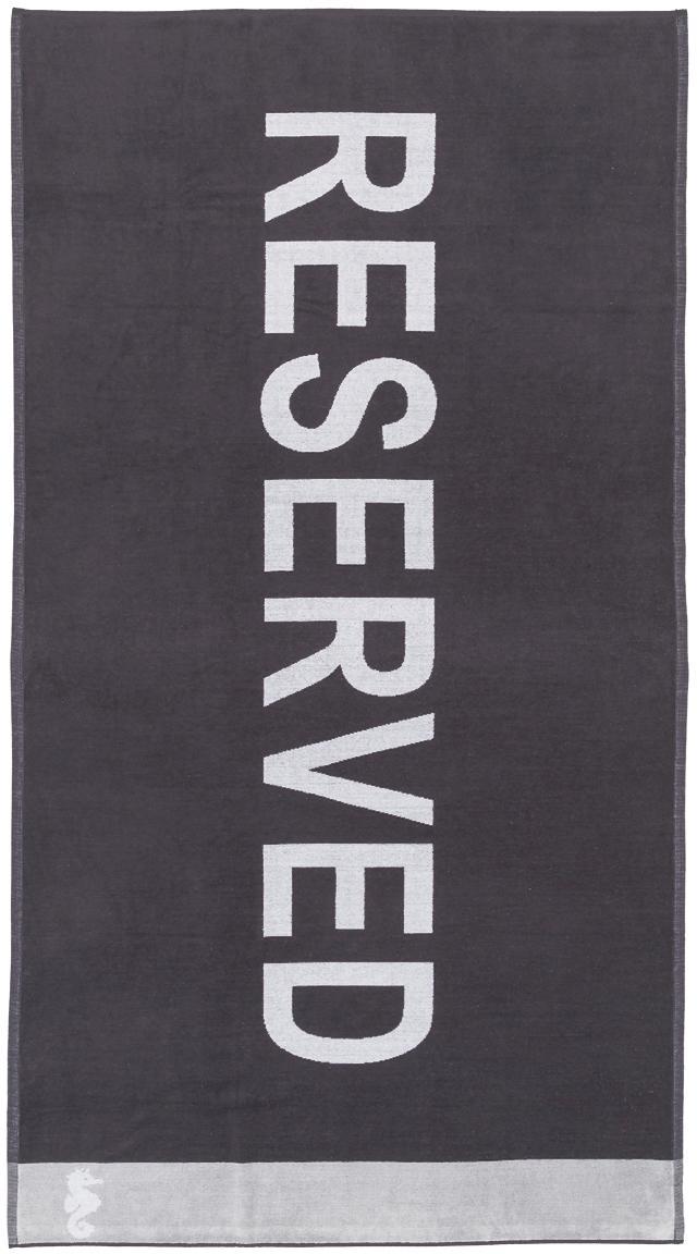 Strandtuch Reserved, Vorderseite: 100% Velour (Baumwolle), Rückseite: Frottee (Baumwolle) Mitte, Violett-Schwarz, Weiß, Grau, 100 x 180 cm