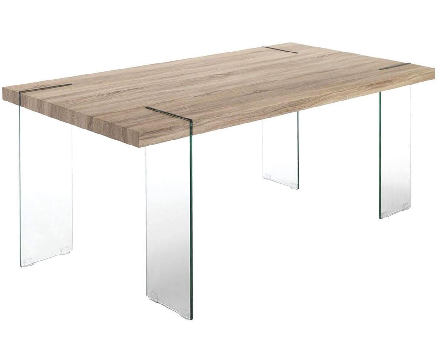 Mesa de comedor de madera de roble Waver, Vidrio templado Tablero de fibras de densidad media (MDF) chapado en madera de roble, Transparente, beige, An 180 x Al 75 cm