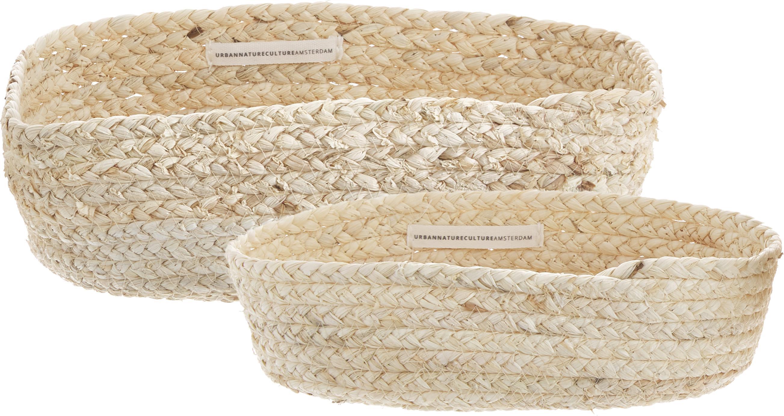 Set 2 cestini per il pane fatti a mano Mais, Foglie di mais intrecciate, Beige chiaro, Diverse dimensioni