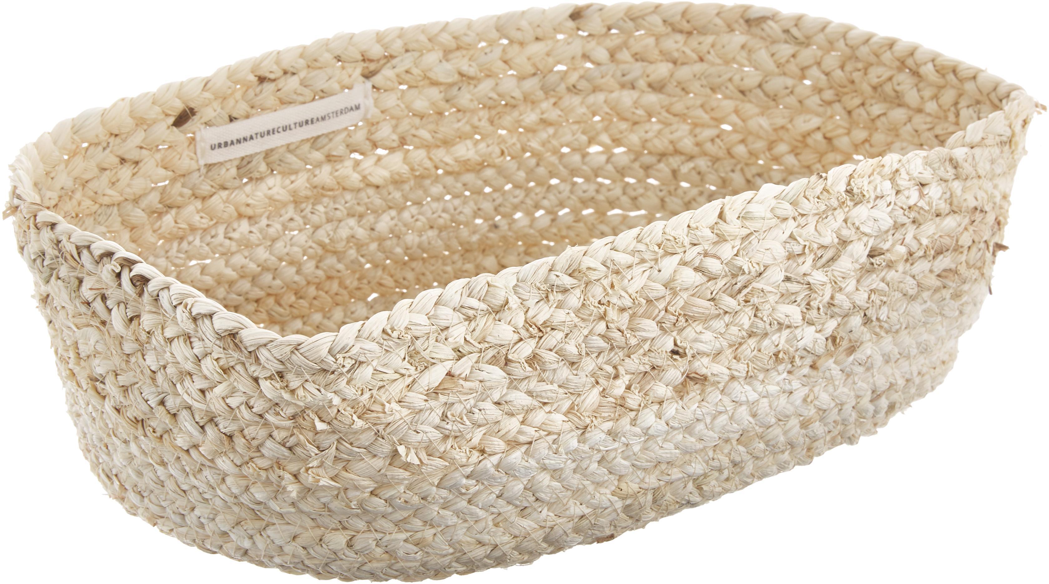 Handgemaakte broodmandjes set Corn, 2-delig., Maïsbladen, gevlochten, Lichtbeige, Verschillende groottes