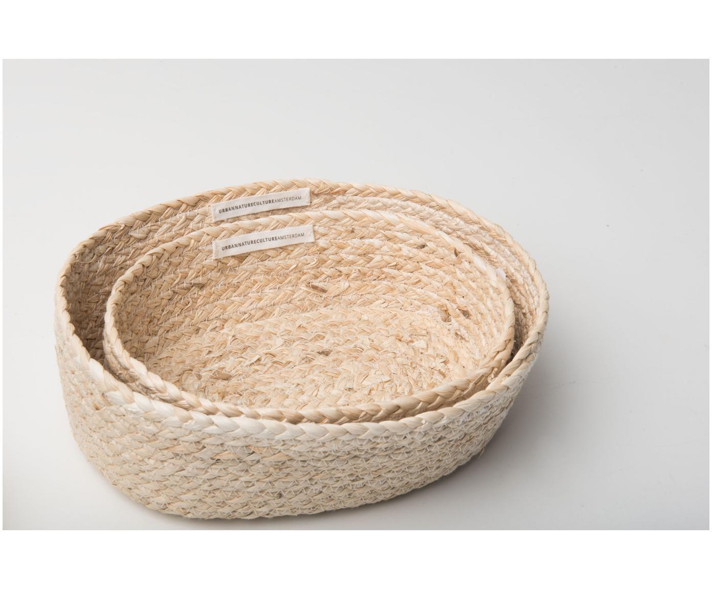 Set de paneras artesanales Corn, 2pzas., Hojas de maíz, trenzadas, Beige claro, Tamaños diferentes
