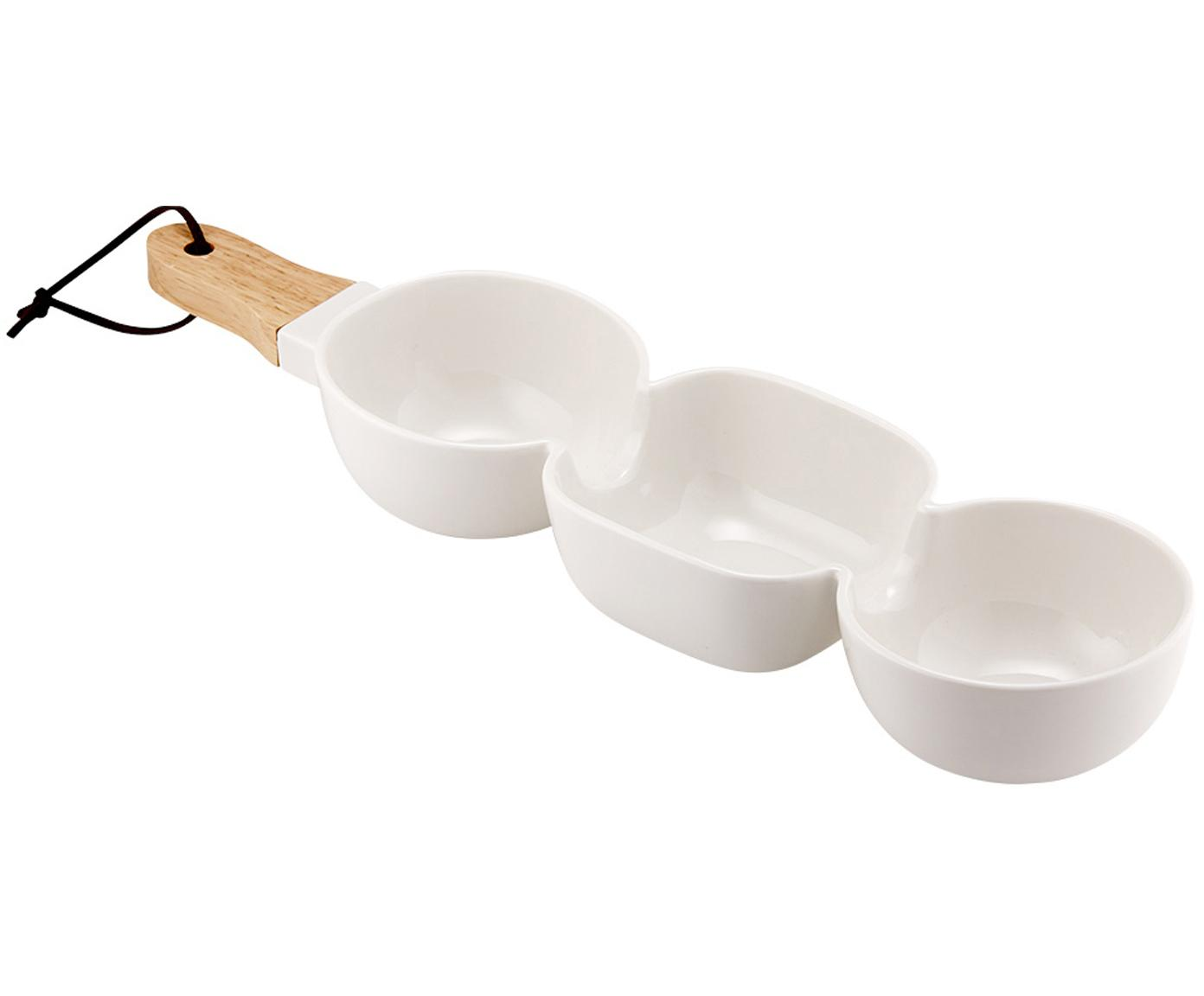 Servierschale Classic, Schale: Porzellan, Griff: Gummibaumholz, Weiß, B 40 x T 10 cm