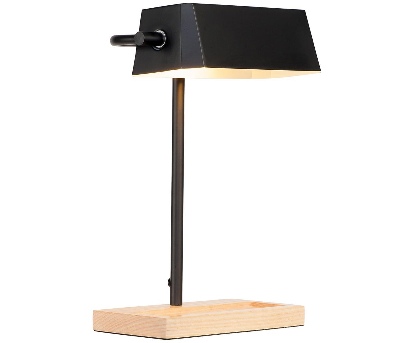 Retro-Schreibtischlampe Cambridge mit Stiftablage, Lampenfuß: Buchenholz, Schwarz, Hellbraun, 25 x 40 cm