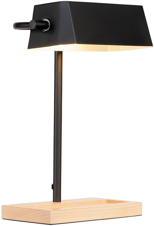 Scandi bureaulamp Cambridge met pennenbakje, Lampenkap: gelakt metaal, Lampvoet: beukenhout, Zwart, lichtbruin, 25 x 40 cm