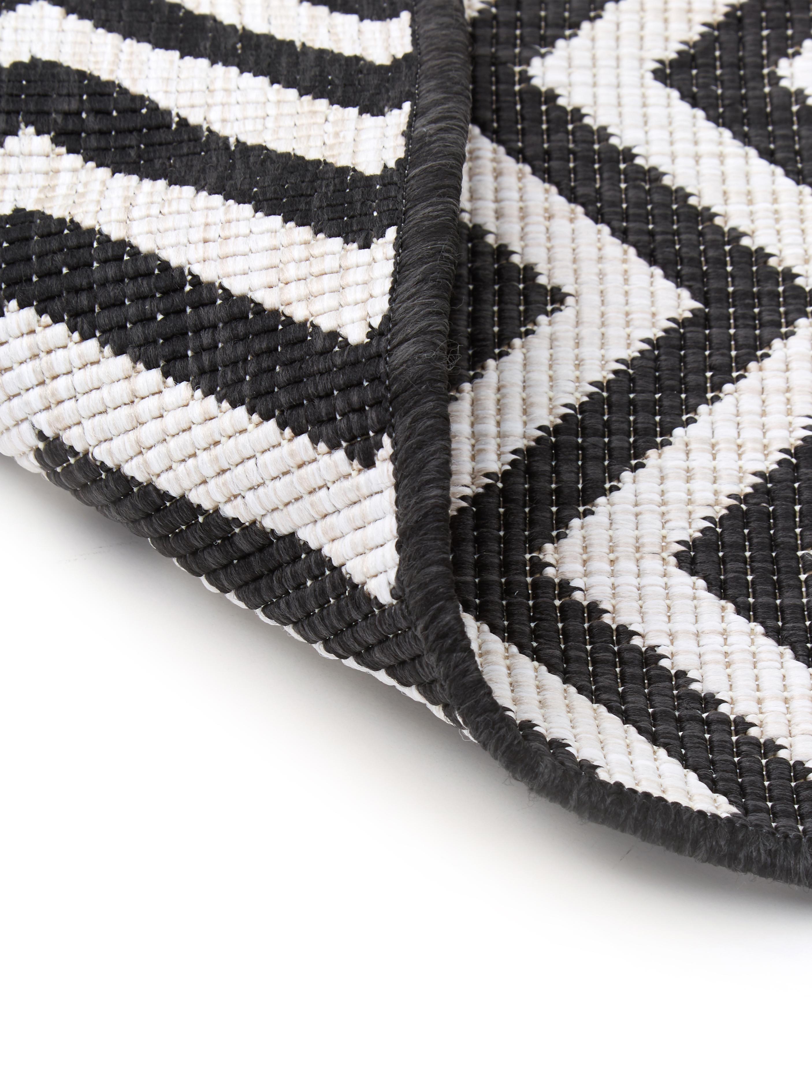 In- & Outdoor-Teppich Palma mit Zickzack-Muster, beidseitig verwendbar, Schwarz, Creme, B 200 x L 290 cm (Größe L)