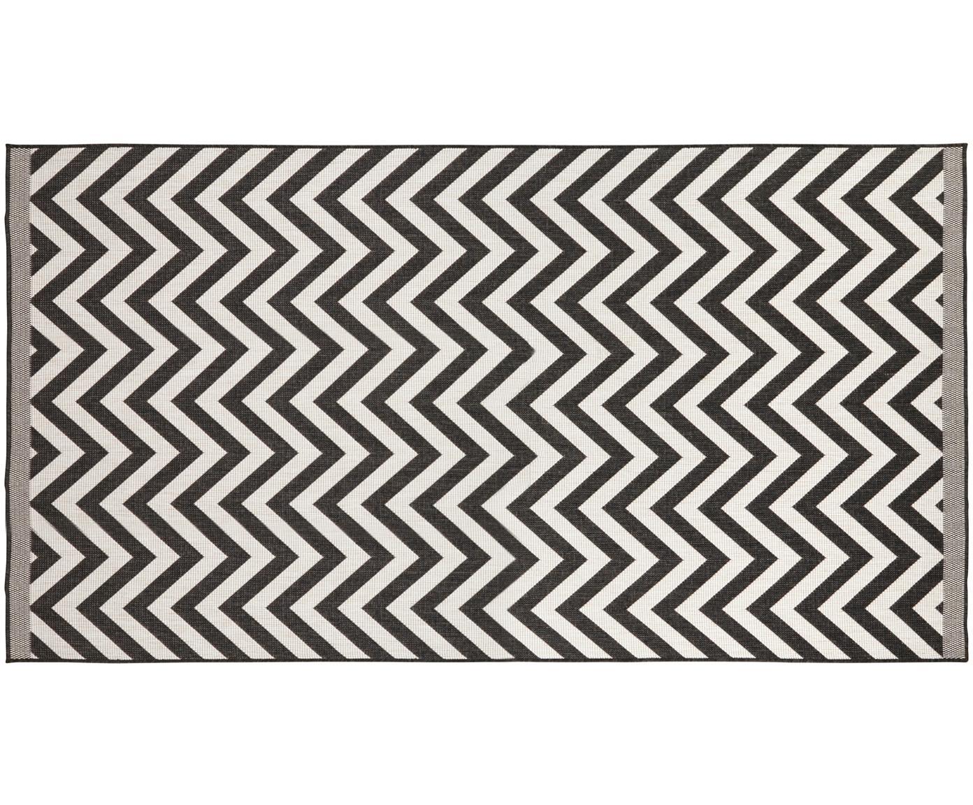 Dubbelzijdig in- & outdoor vloerkleed Palma, met zigzag patroon, Zwart, crèmekleurig, B 80 x L 150 cm (maat XS)