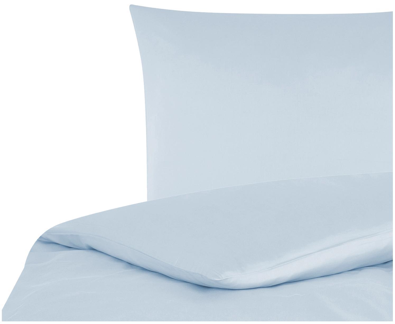 Parure copripiumino in raso di cotone Comfort, Azzurro, 155 x 200 cm