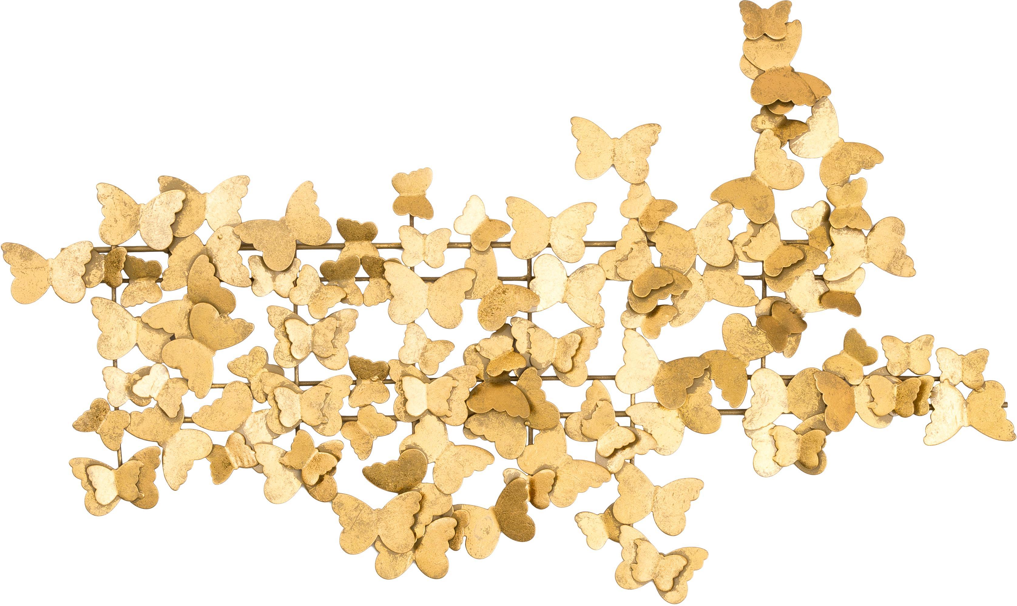 Wandobject Butterfly van metaal, Metaal, Goudkleurig, 104 x 62 cm