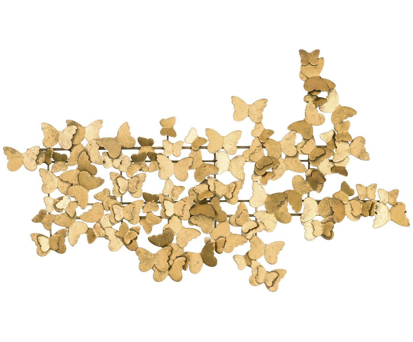 Wandobject Butterfly, Metaal, Goudkleurig, 104 x 62 cm
