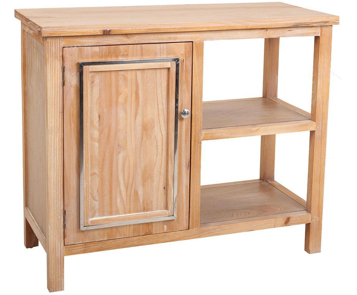 Cómoda Claudia, Estructura: madera de pino, Tablero: fibras de densidad media , Beige, plateado, An 86 x Al 75 cm