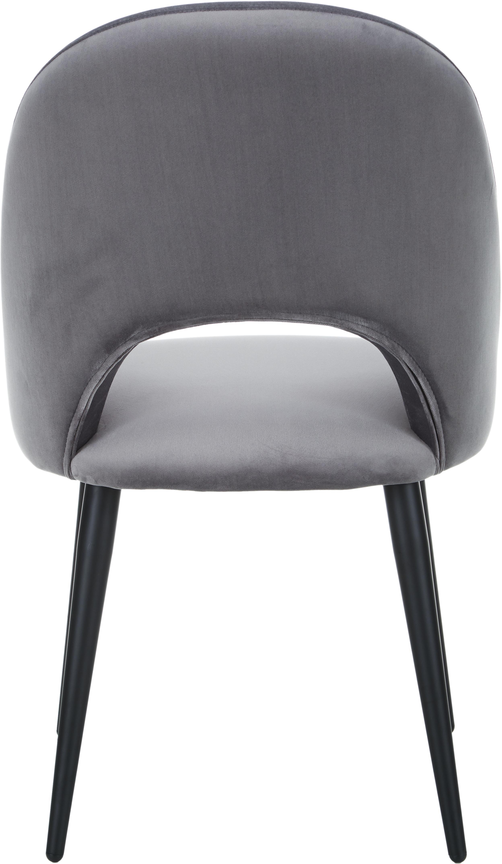Silla de terciopelo Rachel, Tapizado: terciopelo (tapizado de p, Patas: metal con pintura en polv, Terciopelo gris oscuro, An 53 x F 57 cm