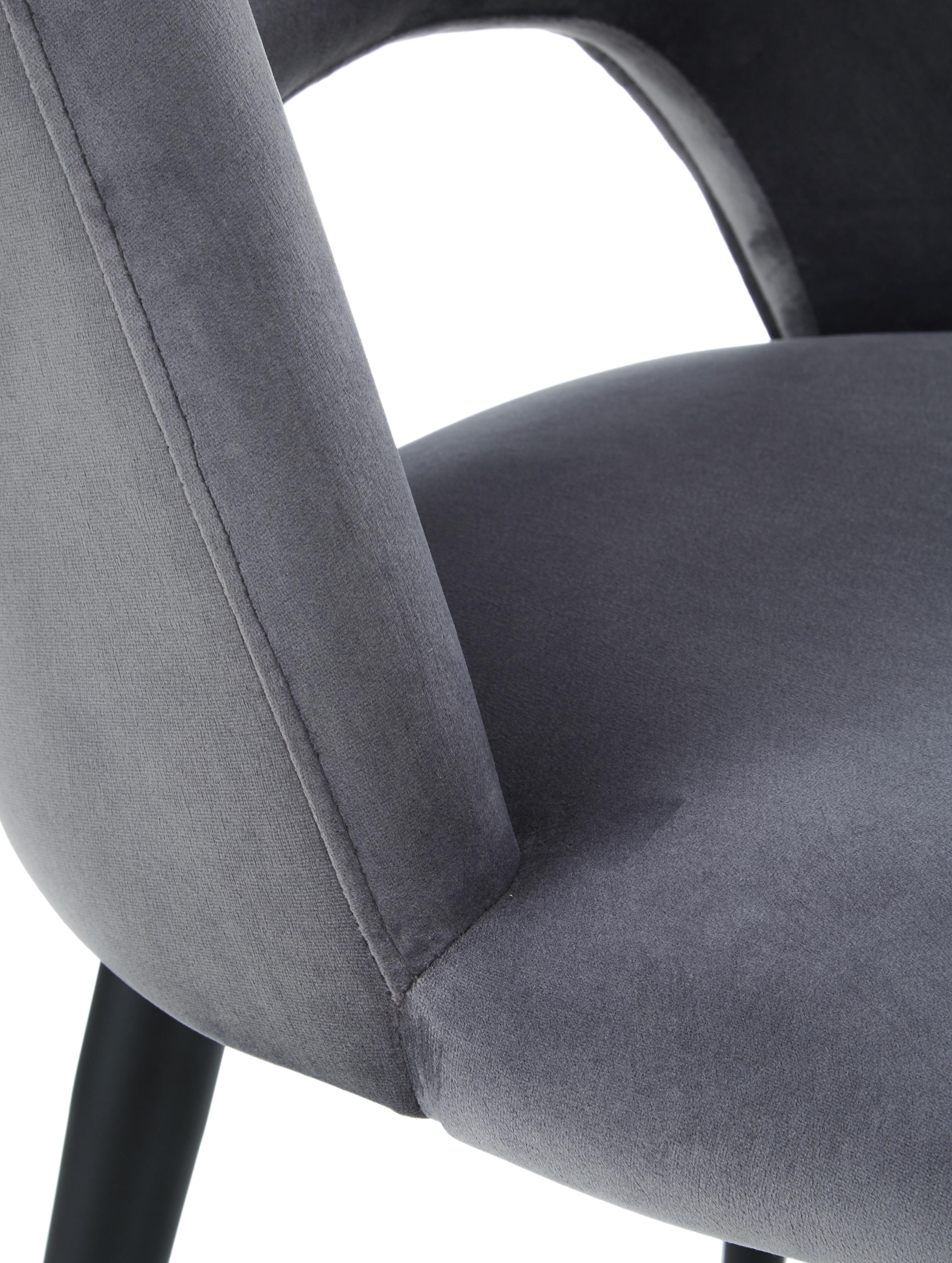 Fluwelen stoel Rachel, Bekleding: fluweel (hoogwaardige pol, Poten: gepoedercoat metaal, Fluweel staalgrijs, B 53 x D 57 cm