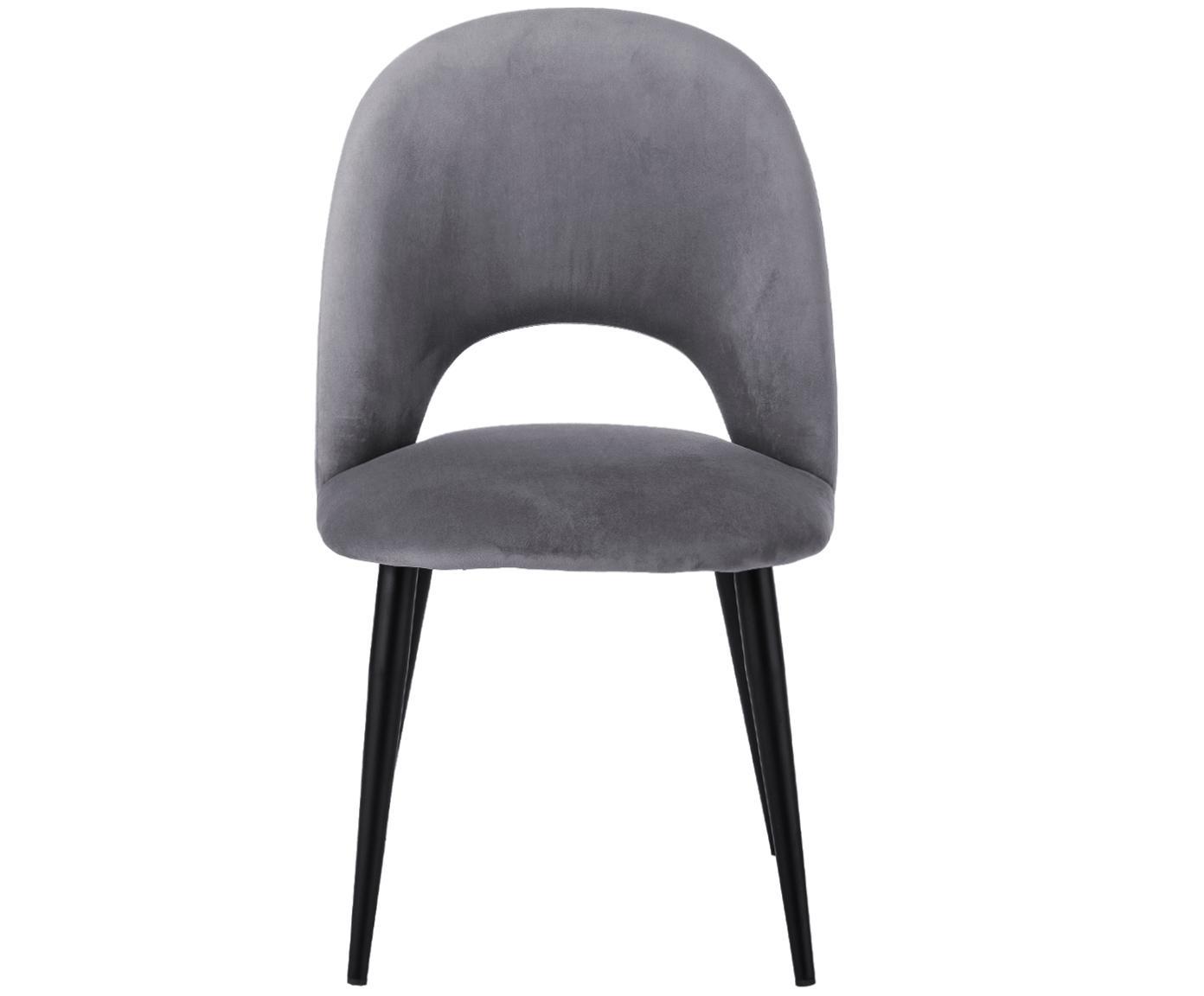Fluwelen stoel Rachel, Bekleding: fluweel (hoogwaardige pol, Poten: gepoedercoat metaal, Grijs, B 53 x D 57 cm