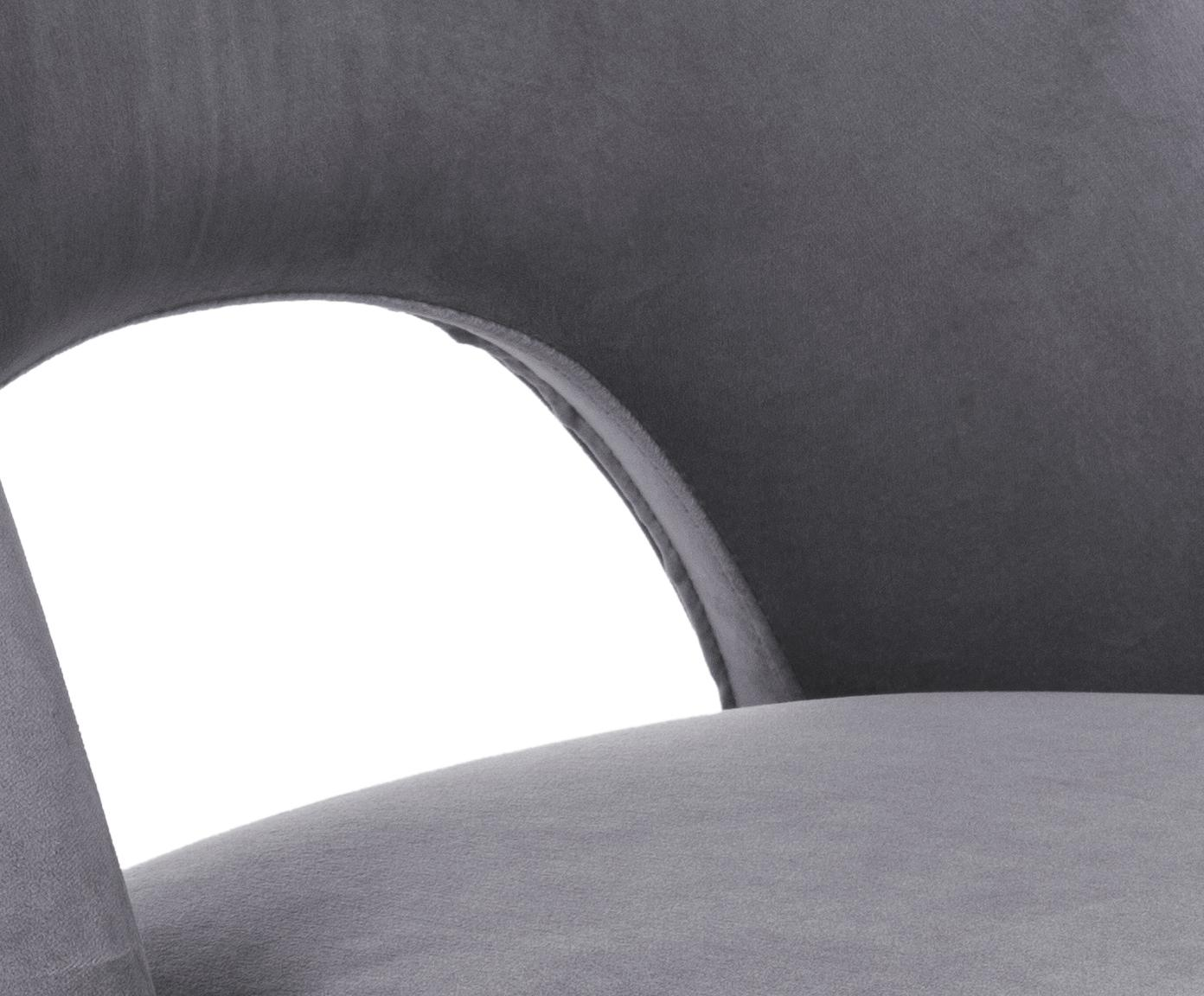 Krzesło tapicerowane z aksamitu Rachel, Tapicerka: aksamit (wysokiej jakości, Nogi: metal malowany proszkowo, Aksamitny szary, S 53 x G 57 cm