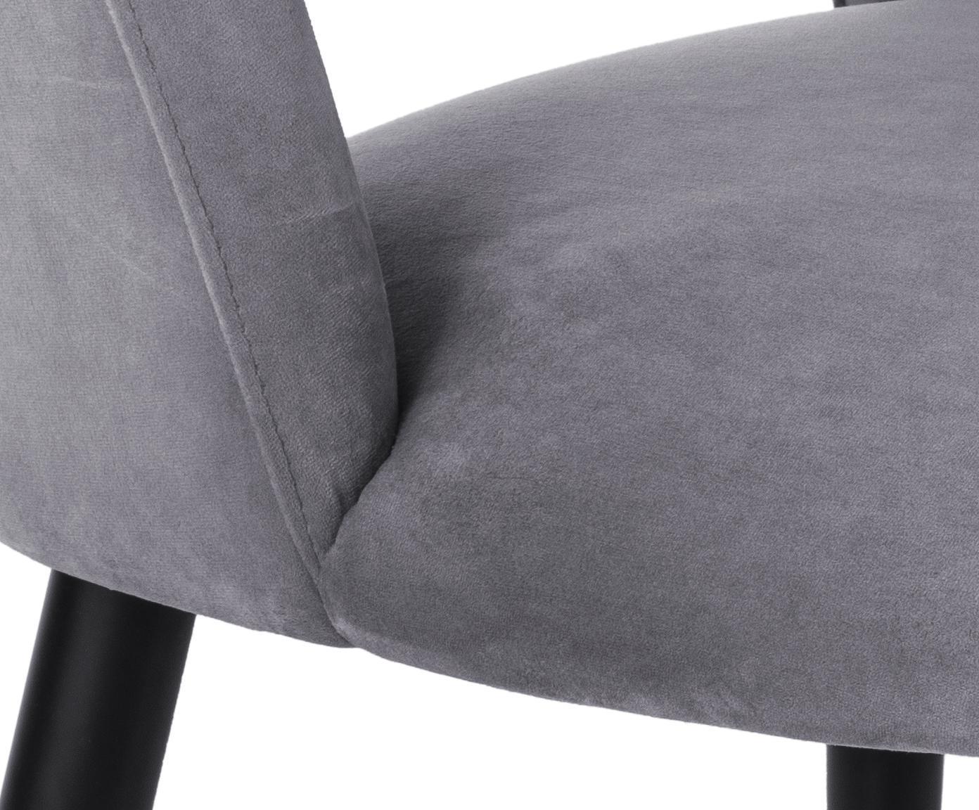 Samt-Polsterstuhl Rachel, Bezug: Samt (Hochwertiger Polyes, Beine: Metall, pulverbeschichtet, Samt Stahlgrau, B 53 x T 57 cm