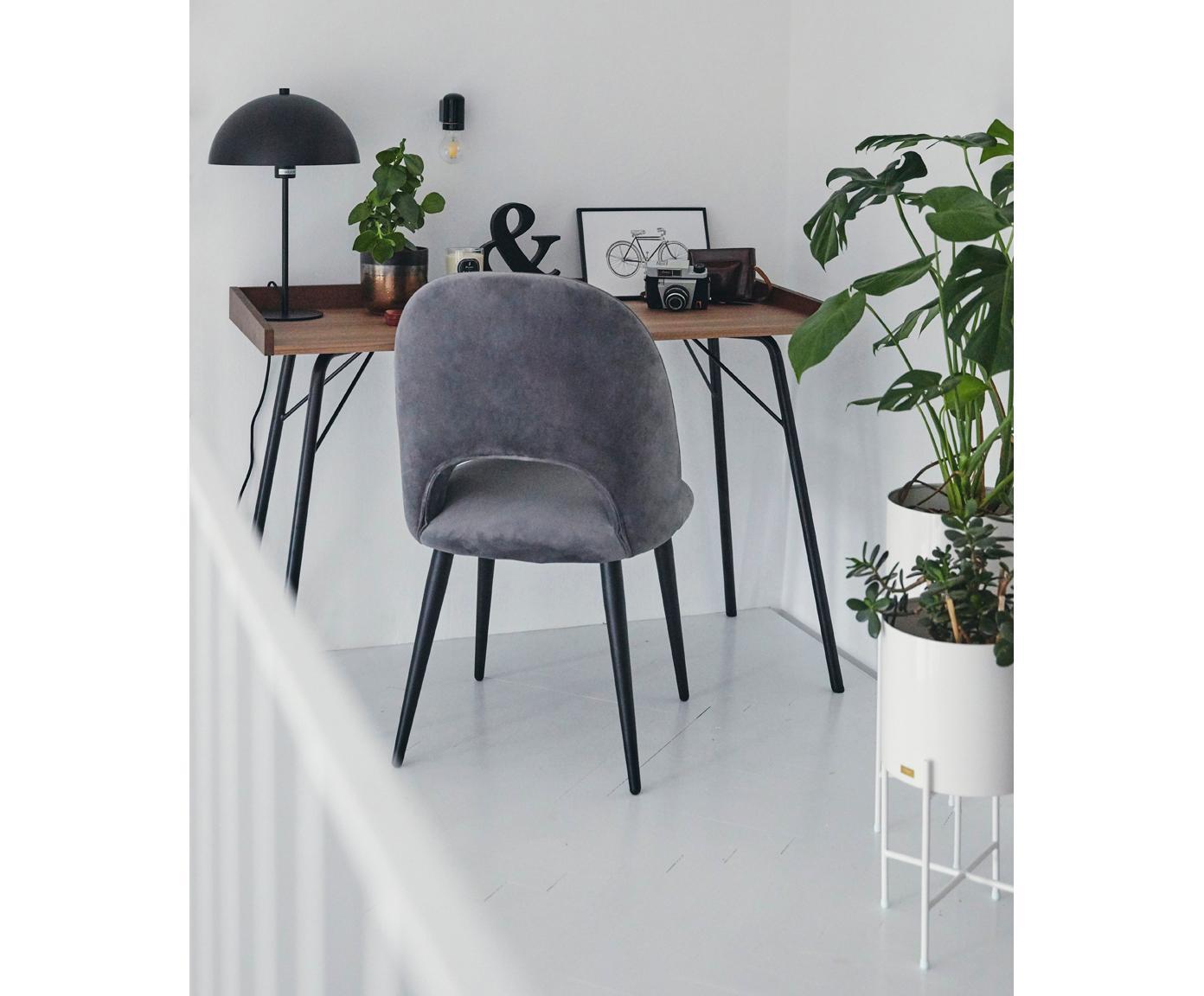 Sedia imbottita in velluto Rachel, Rivestimento: velluto (copertura in pol, Gambe: metallo verniciato a polv, Grigio, Larg. 53 x Prof. 57 cm