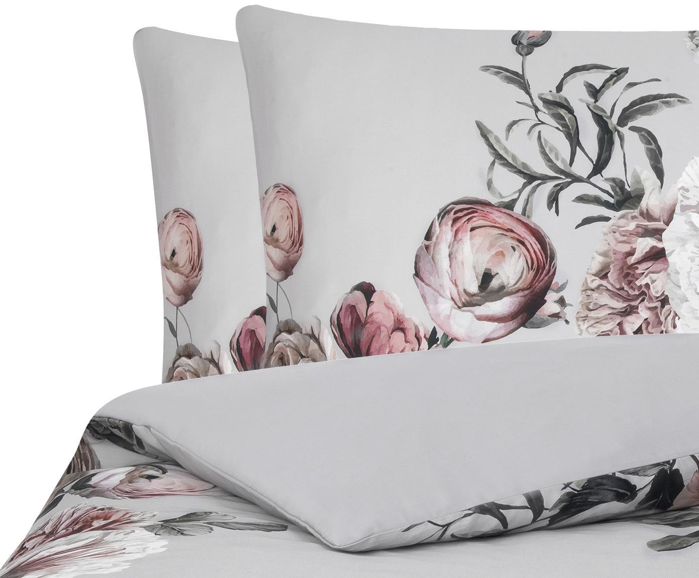 Baumwollsatin-Bettwäsche Blossom mit Blumen-Print, Webart: Satin Fadendichte 210 TC,, Mehrfarbig, Grau, 240 x 220 cm + 2 Kissen 80 x 80 cm