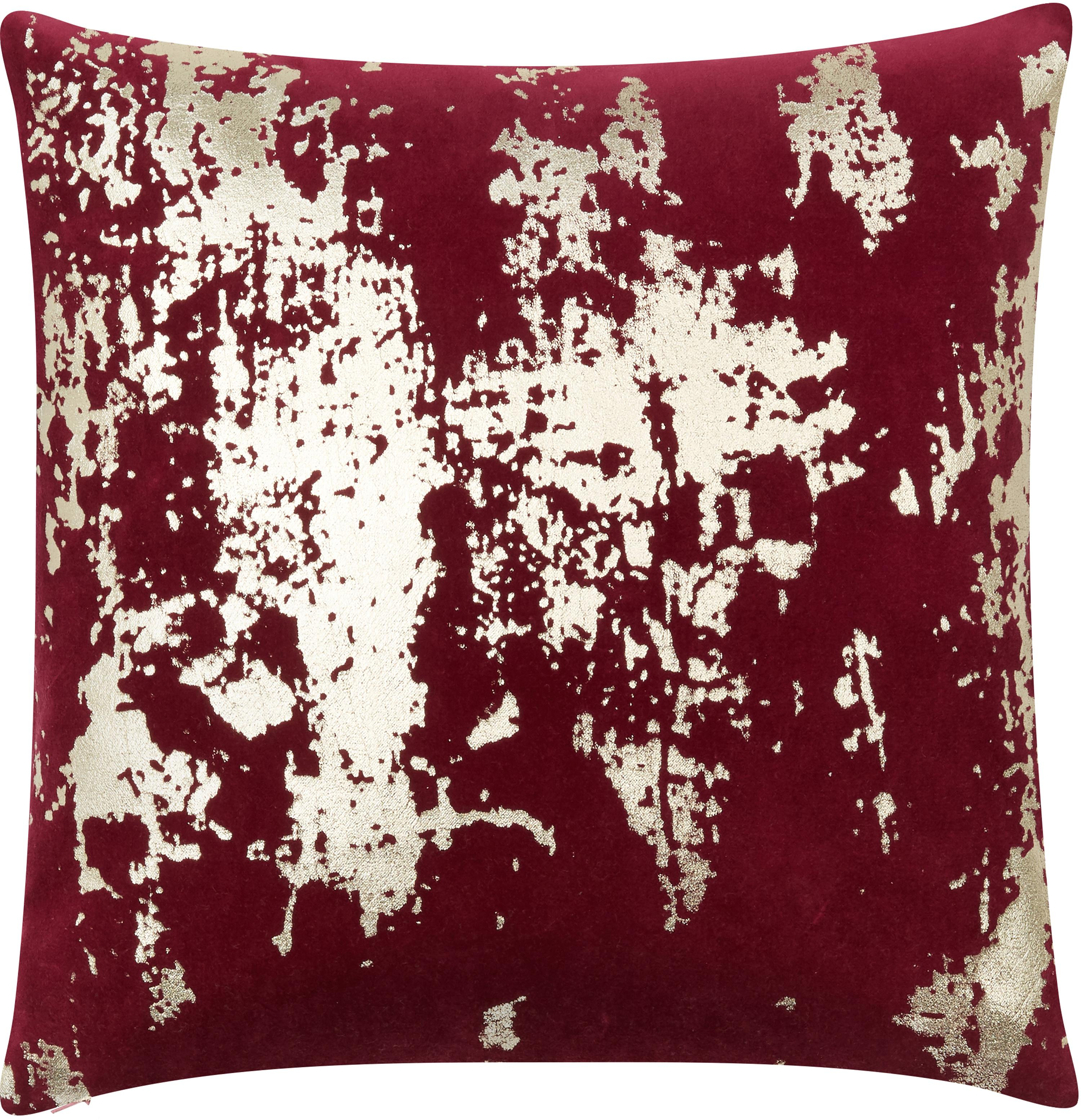 Samt-Kissenhülle Shiny mit schimmerndem Vintage Muster, Baumwollsamt, Rot, Goldfarben, 40 x 40 cm