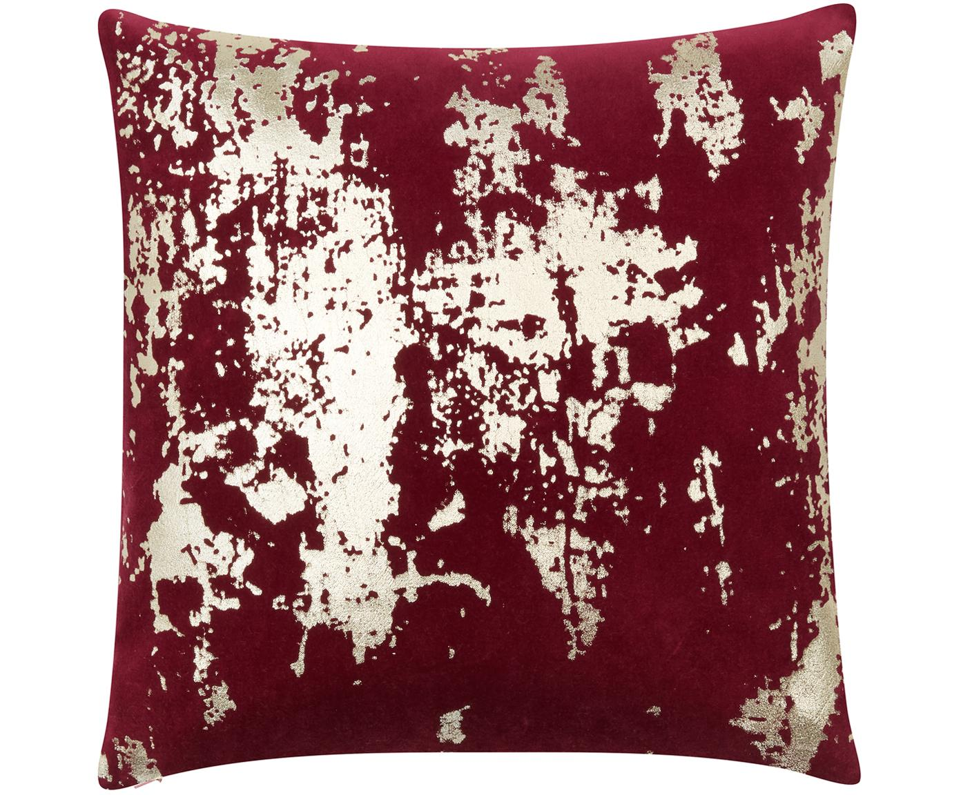 Fluwelen kussenhoes Shiny met glinsterend vintage patroon, Katoenfluweel, Rood, goudkleurig, 40 x 40 cm