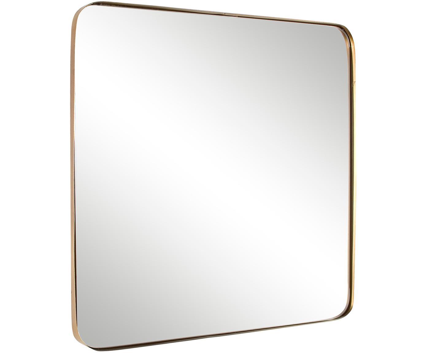 Specchio da parete Adhira, Cornice: metallo rivestito, Superficie dello specchio: lastra di vetro, Ottonato, Larg. 60 x Alt. 60 cm