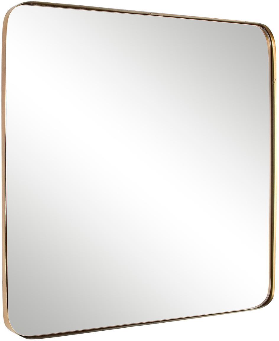 Goudkleurige wandspiegel Adhira met metalen lijst, Lijst: gecoat metaal, Messingkleurig, 60 x 60 cm