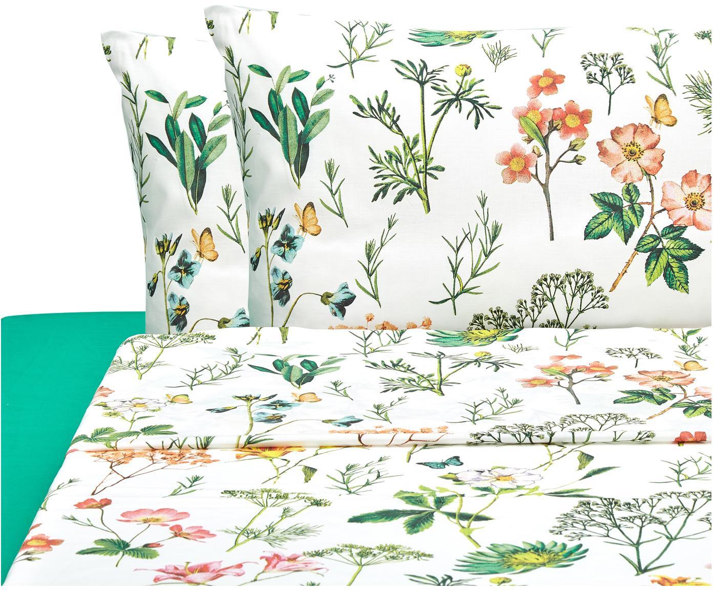 Completo letto Botanico, Cotone, Bianco, verde, multicolore, 250 x 280 cm