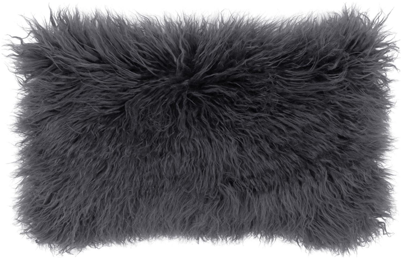 Federa arredo in ecopelliccia Morten, Retro: 100% poliestere, Grigio scuro, Larg. 30 x Lung. 50 cm