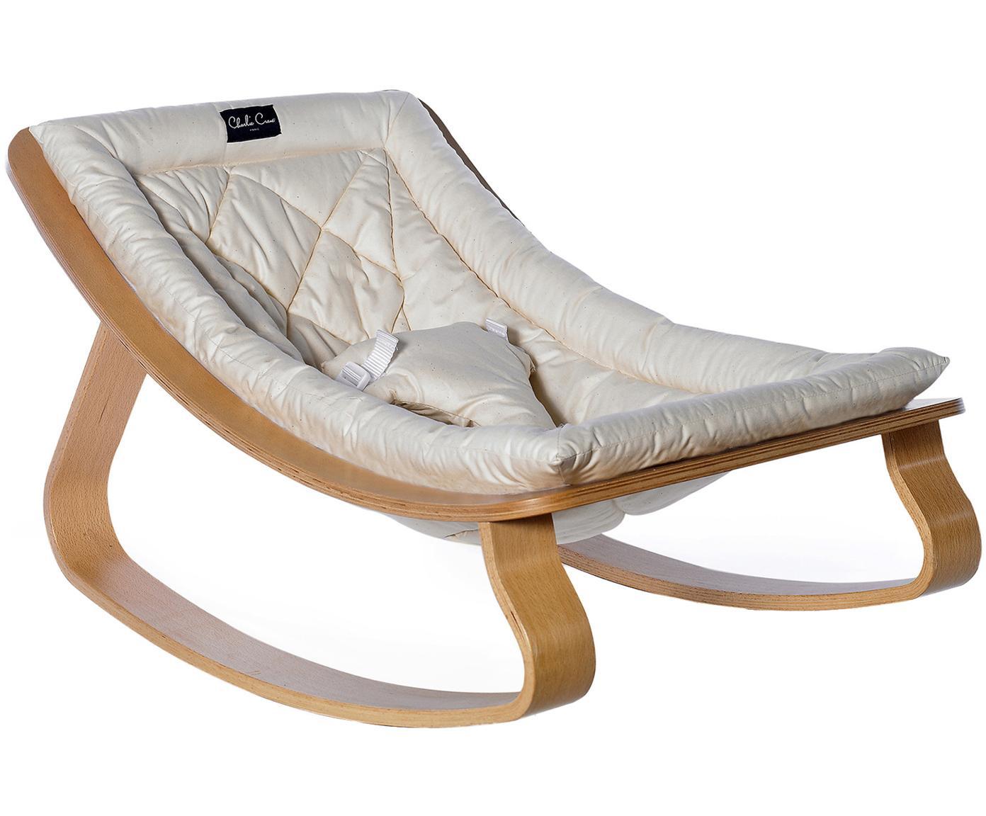 Hamaca bebé Levo, Patas: madera de abedul, madera , Funda: algodón, Beige, blanco, An 70 x Al 40 cm