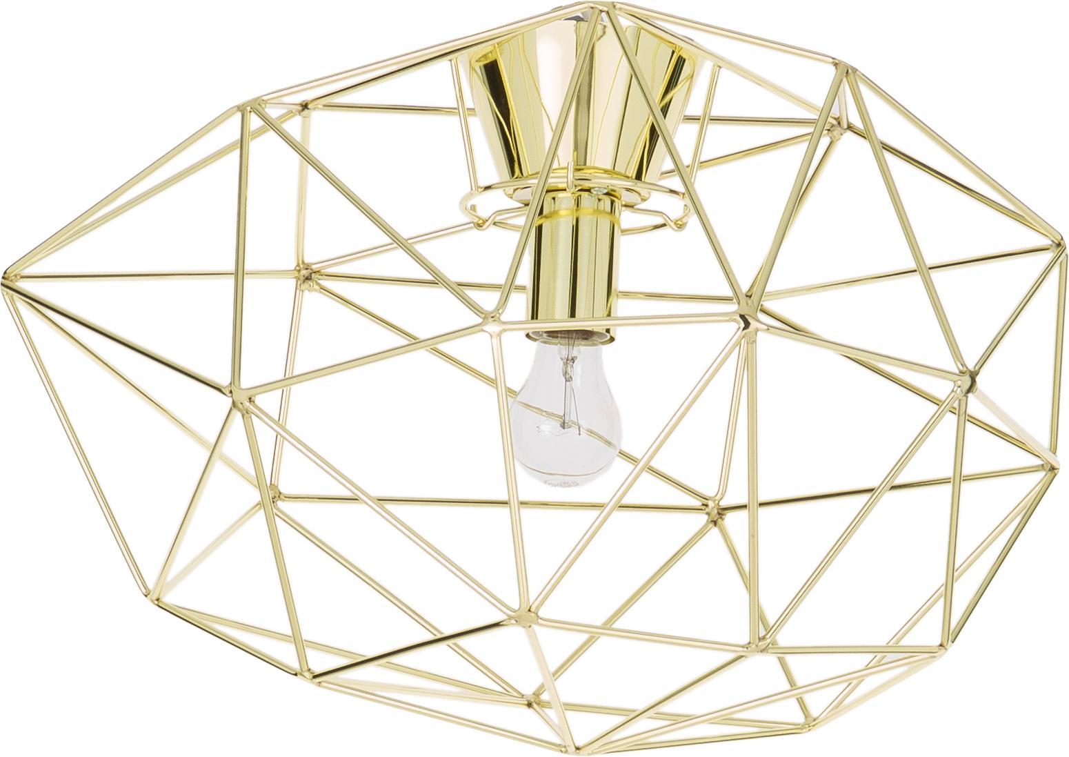 Plafondlamp Diamond, Gelakt messing, Goudkleurig, Ø 50 x H 32 cm