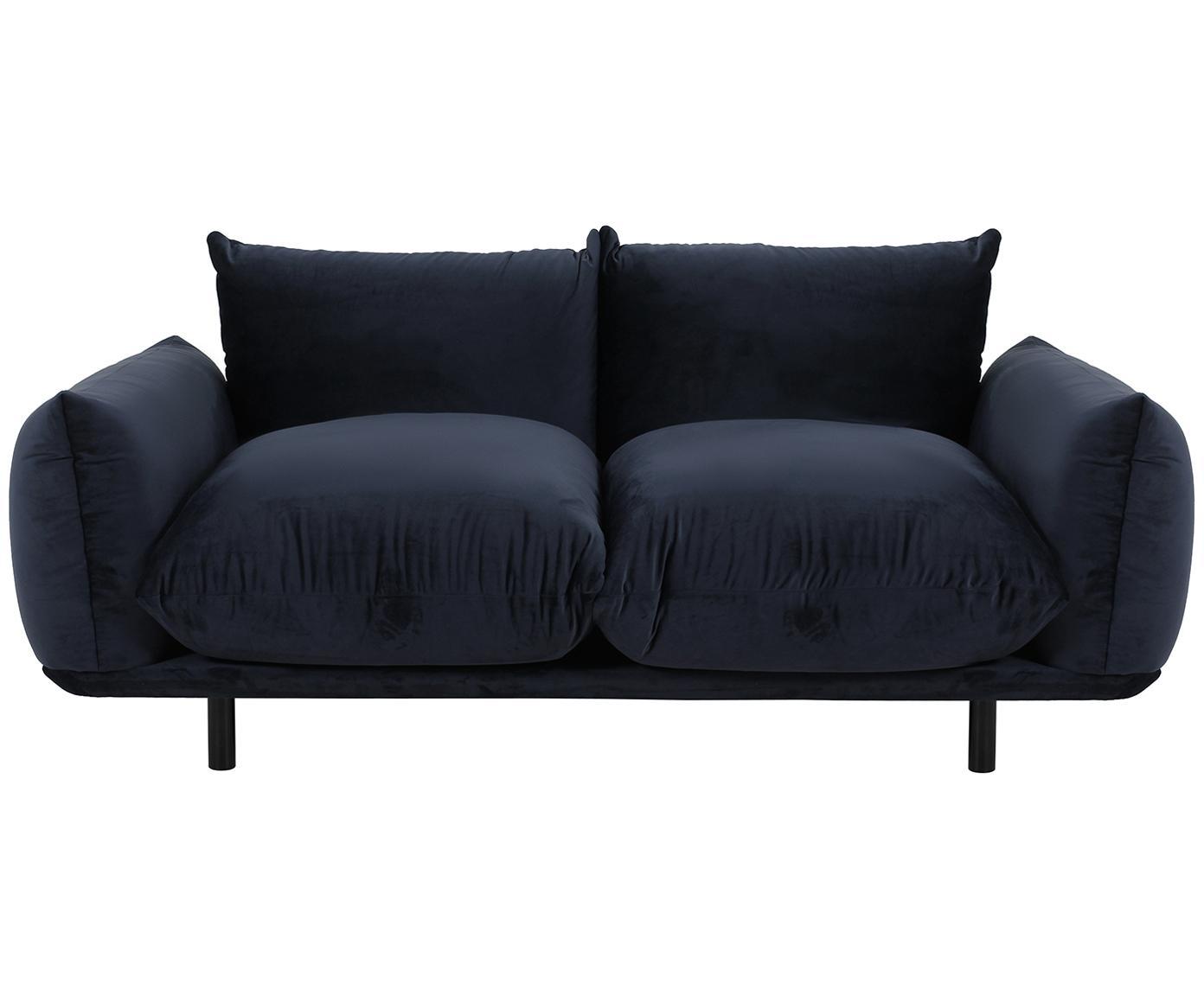 Sofa z aksamitu Saga (3-osobowa), Tapicerka: 100% aksamit poliestrowy , Stelaż: lite drewno brzozowe, Nogi: metal malowany proszkowo, Ciemny niebieski, S 170 x G 103 cm