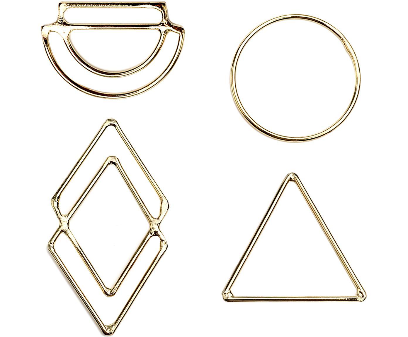 Komplet etykietek na prezent Ecora, 4 elem., Metal, Odcienie złotego, S 4 x W 6 cm