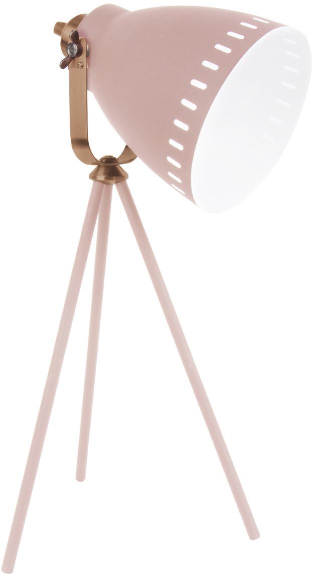 Tripod Schreibtischlampe Mingle mit Kupfer-Dekor, Lampenschirm: Eisen, lackiert, Lampenfuß: Eisen, lackiert, Dekor: Messing, lackiert, Weiß, Kupferfarben, 27 x 54 cm