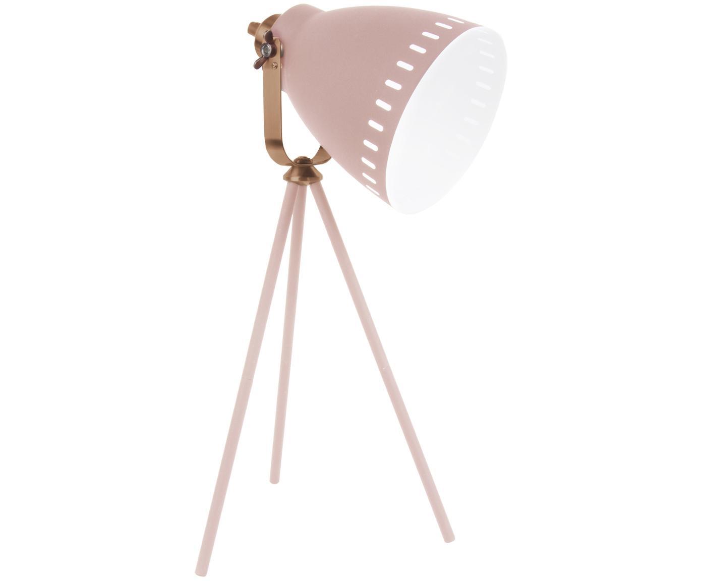 Tafellamp Mingle in industrieel design, Wit, koperkleurig, 27 x 54 cm