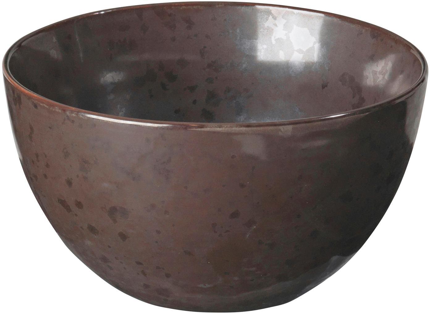 Handgemaakte kommen Esrum Night, 4 stuks, Geglazuurd steengoed, Grijsbruin, mat glinsterend zilverachtig, Ø 14 x H 8 cm