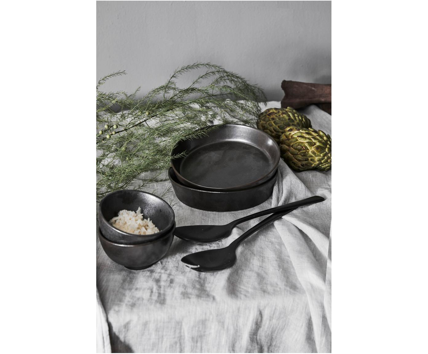 Ręcznie wykonana miska Esrum Night, 4 szt., Kamionka szkliwiona, Szarobrązowy, matowy, srebrzysty, lśniący, Ø 14 x W 8 cm