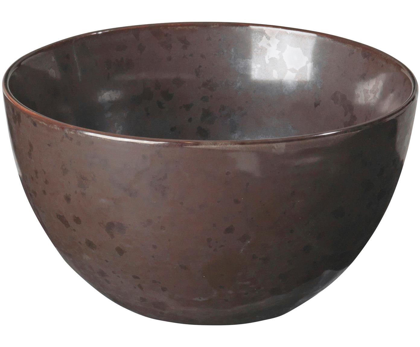 Ciotole artigianali Esrum Night, 4 pz., Gres smaltata, Marrone grigiastro lucido argenteo opaco, Ø 14 x A 8 cm