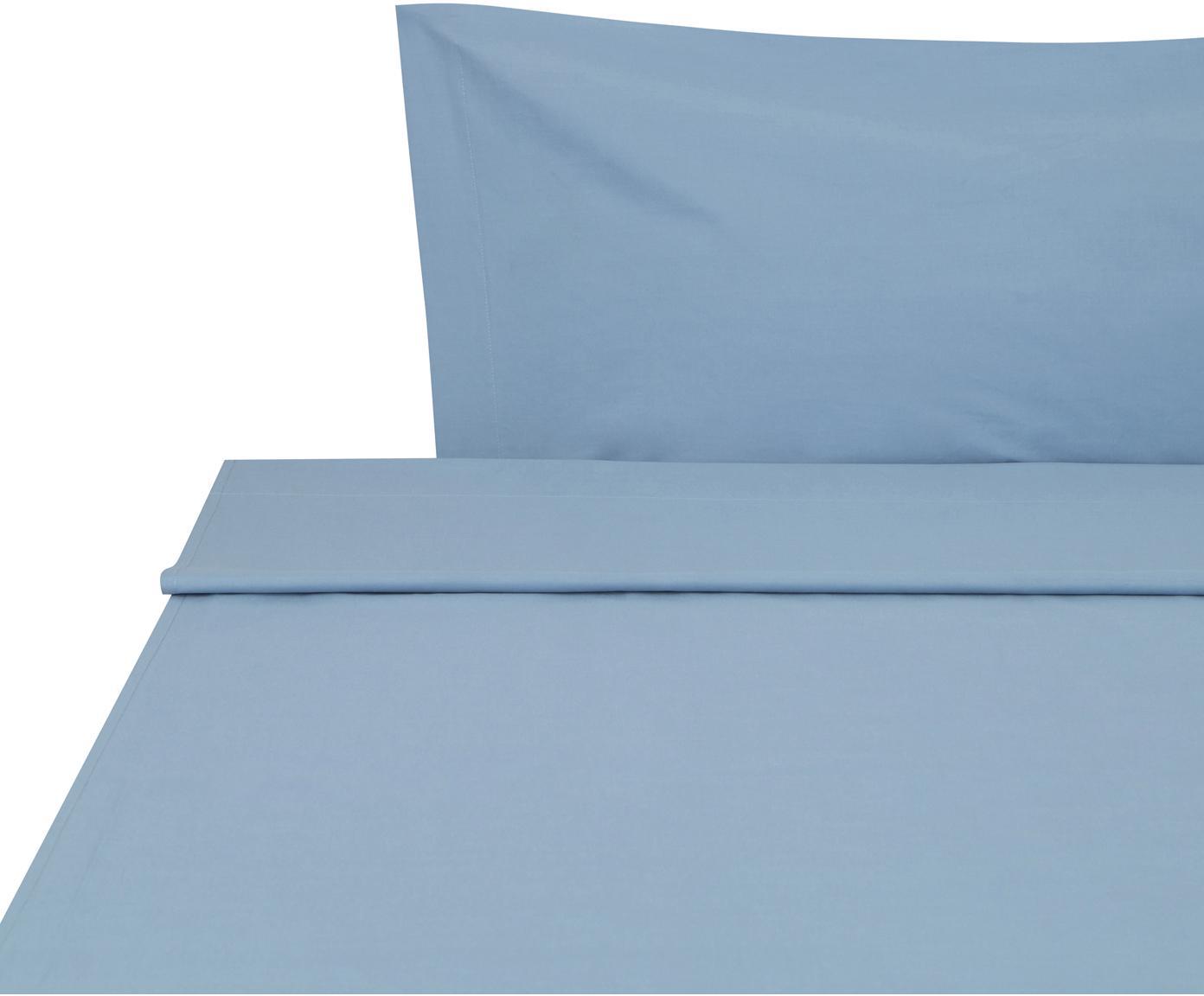 Sábana encimera Plain Dye, Algodón, Azul vaquero, Cama 90 cm (155 x 280 cm)