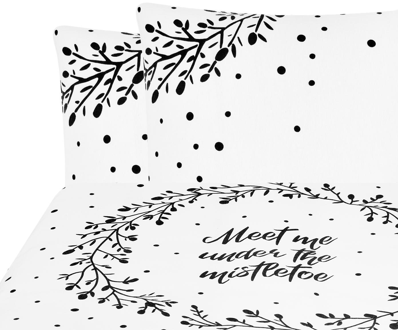 Pościel z flaneli Mistletoe, Biały, czarny, 200 x 200 cm