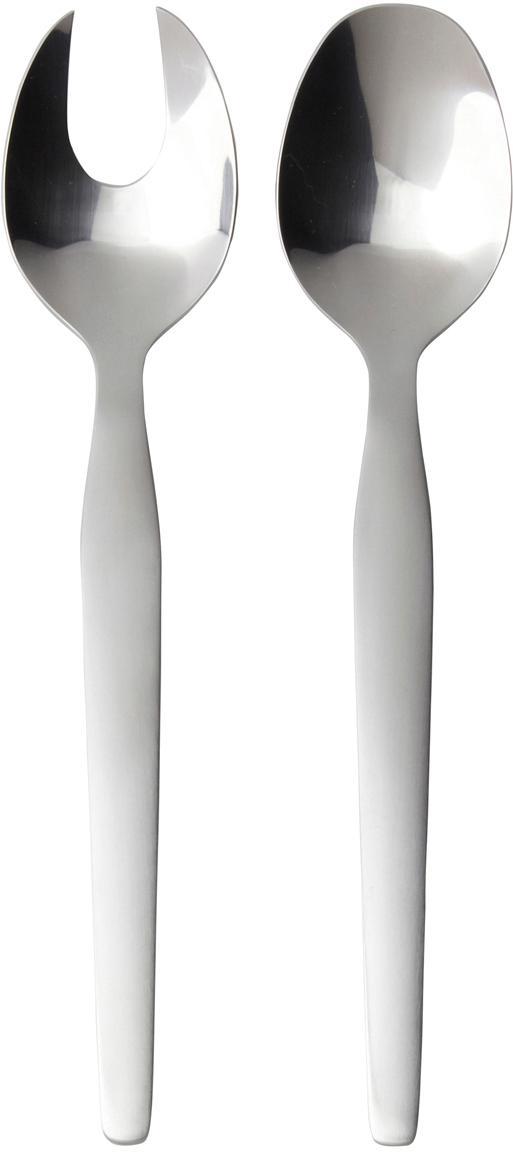 Silbernes Salatbesteck Bra aus rostfreiem Stahl, 2er-Set, Rostfreier Stahl, gebürstet, Stahl, L 25 cm