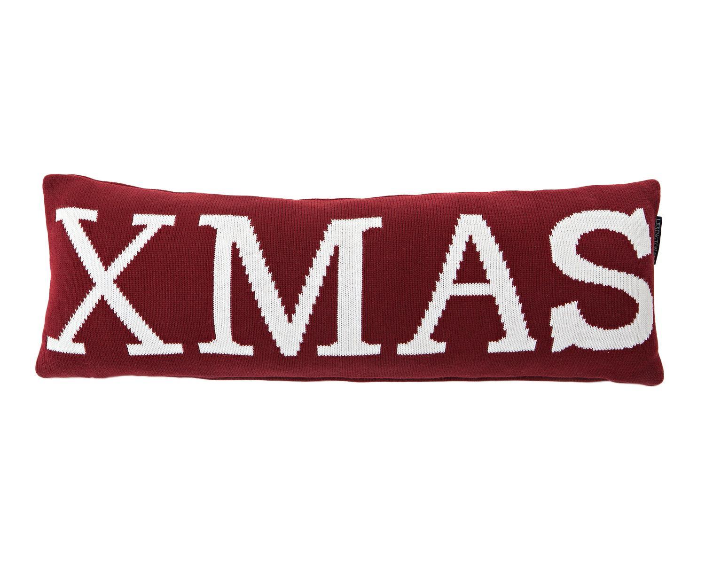 Cuscino lungo con scritta e imbottitura Xmas, Rivestimento: cotone, Bianco, rosso, Larg. 25 x Lung. 70 cm