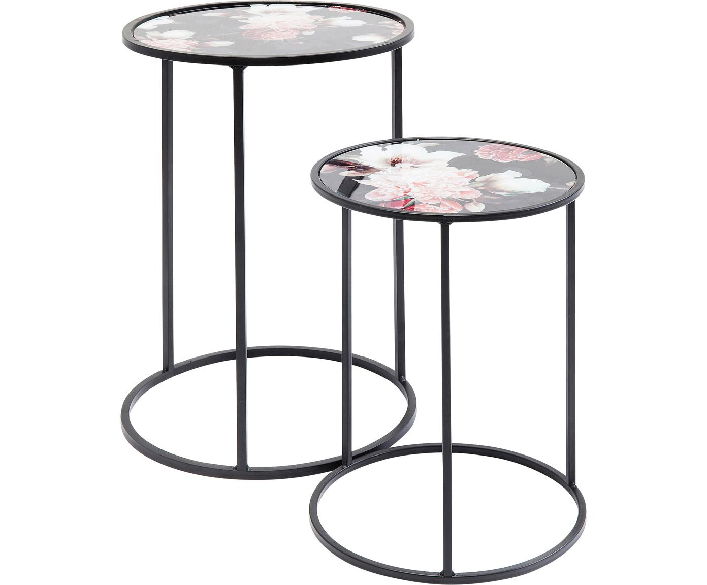 Set 2 tavolini rotondi con motivi floreali Peony, Piano d'appoggio: vetro temperato (ESG), co, Struttura: acciaio, verniciato a pol, Nero, Diverse dimensioni